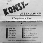 Affisch från 1947 Konstutställning i Tingshuset, Kisa 22-30 november.  Gamla